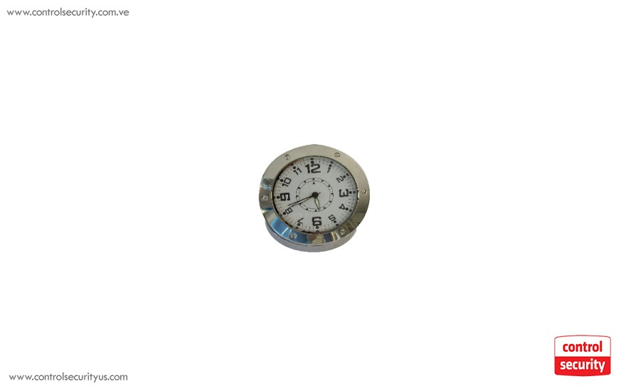 Silver Table Clock with Mini Camera